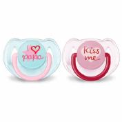 Chupete silicona - philips avent i love papa kiss me (6- 18 m niña 2 chupetes)